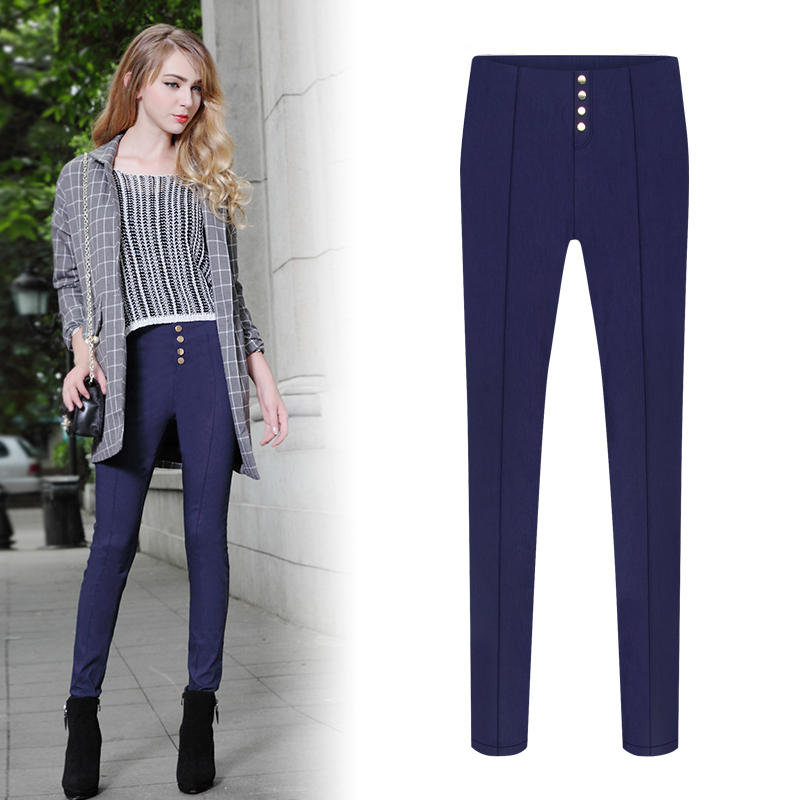 Get Quotations · 2015 summer fall womens fashion pants buttons slim thin  stretch pants women high waisted trousers pencil 9b34fa846ae4
