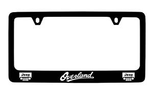 Jeep Overland Black Coated Metal License Plate Frame Holder