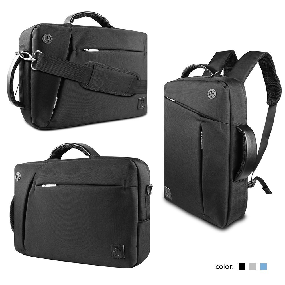 "VanGoddy 10 Inch Universal Hybrid Backpack / Briefcase / Messenger / Tote, 4 in 1 Multifunction Carrying Bag for 9.7"" 10.1"" 10.5"" 10.8"" 12"" 12.2"" 12.3"" 12.5"" Laptop / Tablet (Black)"