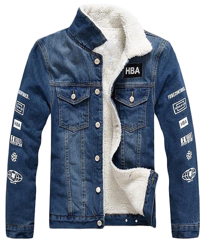 Suncolor8 Mens Winter Zip Front Faux Fur Lined Hoodie Hooded Sweatshirt Coat Jacket