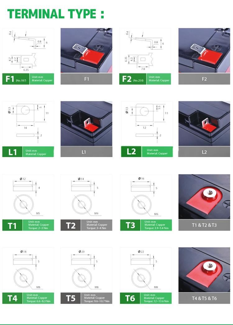 12 V 7Ah VRLA 충전식 배터리 Ups/백업 시스템