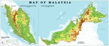 Physical Map Of Malaysia Buy Malaysia Physical Map Product on