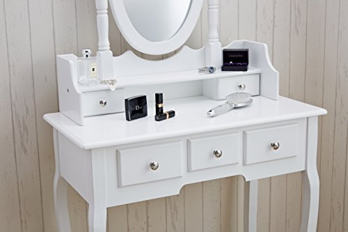 coiffeuse avec miroir table de maquillage fran ais en bois commode 3 tiroirs antique vanity set. Black Bedroom Furniture Sets. Home Design Ideas