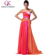 Hot Sale Elegant Design Grace Karin Sexy Strapless Red Chiffon Long Cheap Prom Dresses CL6069-2#