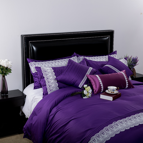 Purple Fashion Home Textile Wholesale Bed Cover 100% Cotton Lace Bedding Bets for Wedding