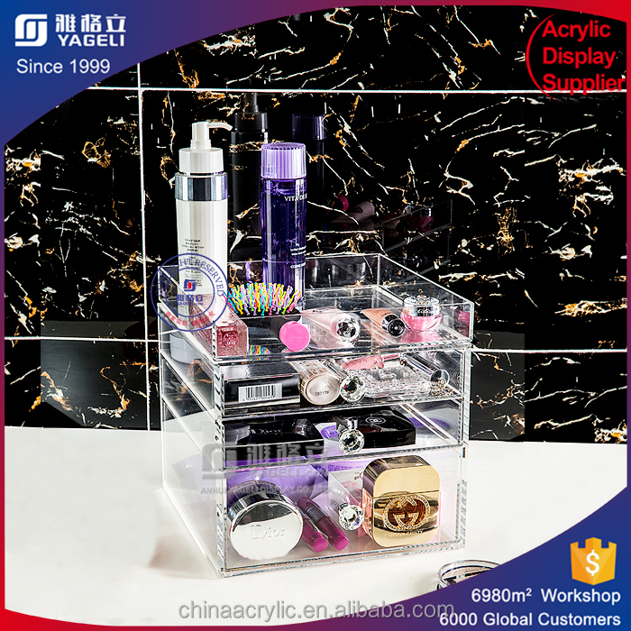 Customized craft lipstick acrylic display rack with acrylic drawer for sale