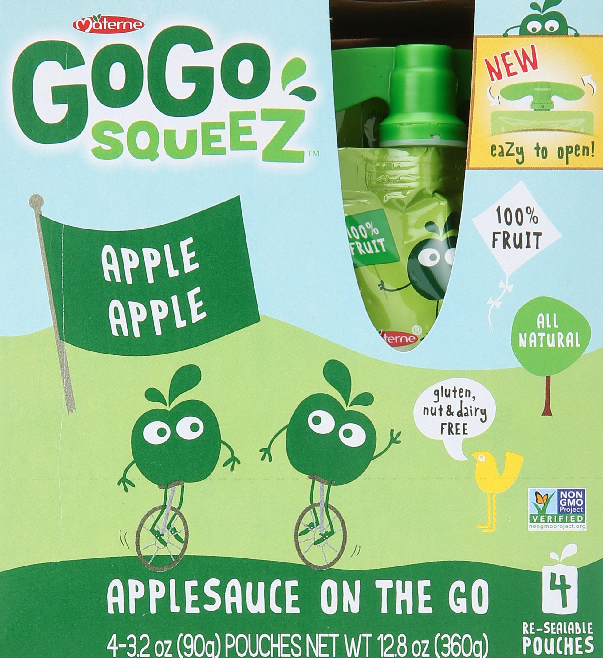 GoGo SqueeZ Apple Sauce - Apple Apple - 3.2 oz (Pack of 4)