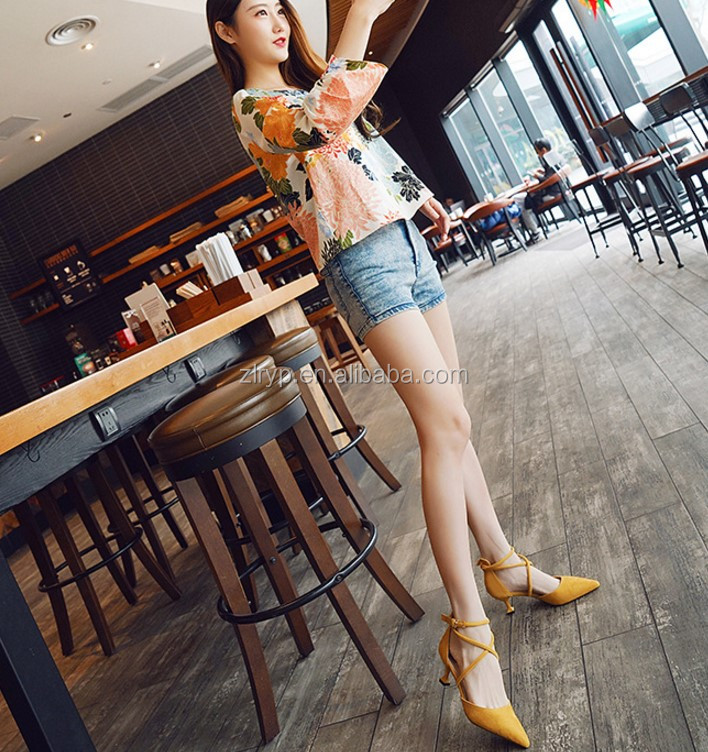 2018 High quality low price High <strong>heels</strong> 5 colors ladies leather shoes