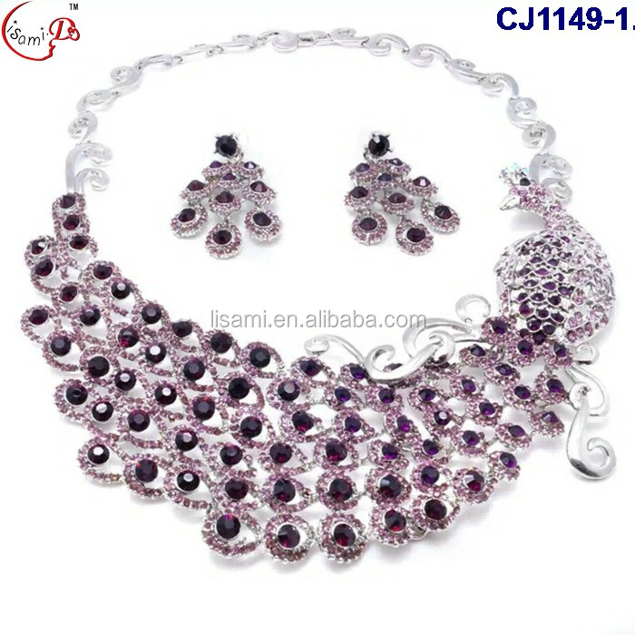 CJ1149 2016 new design Indian Bridal Jewelry Set Flower Necklace African Beads Jewelry Set crystal and stone jewelry