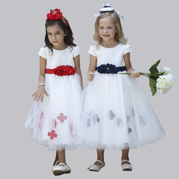 Stock Supply! Short sleeve big bow puffy princess ankle length long kids wedding dress for children