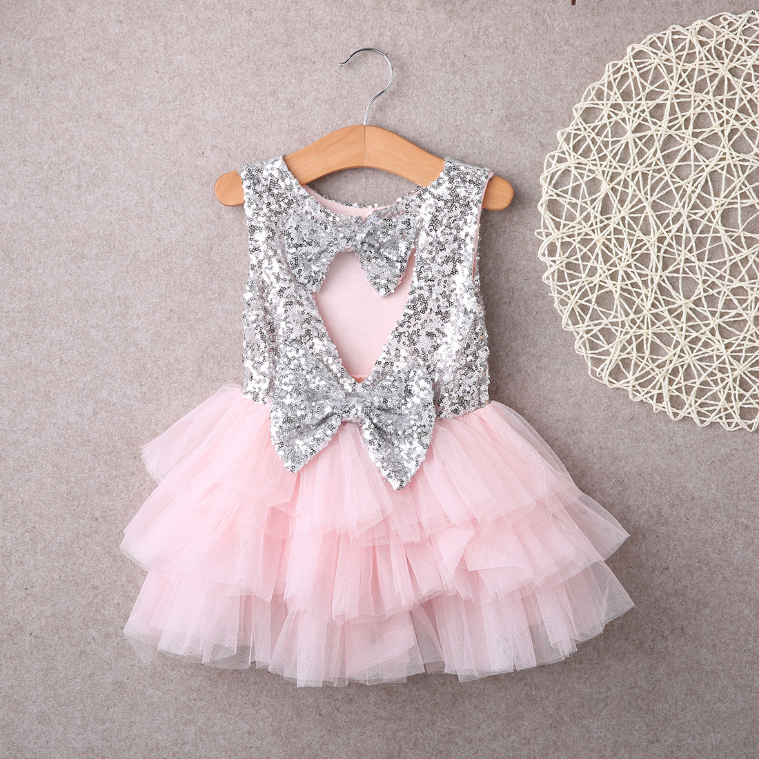 aba41cb11ca2 Detail Feedback Questions about Baby Flower Girl Dress Sequin Bow ...