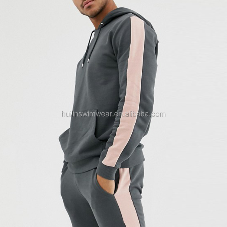 Newest customized tracksuit hoodie/ skinny joggers with side stripe in washed black
