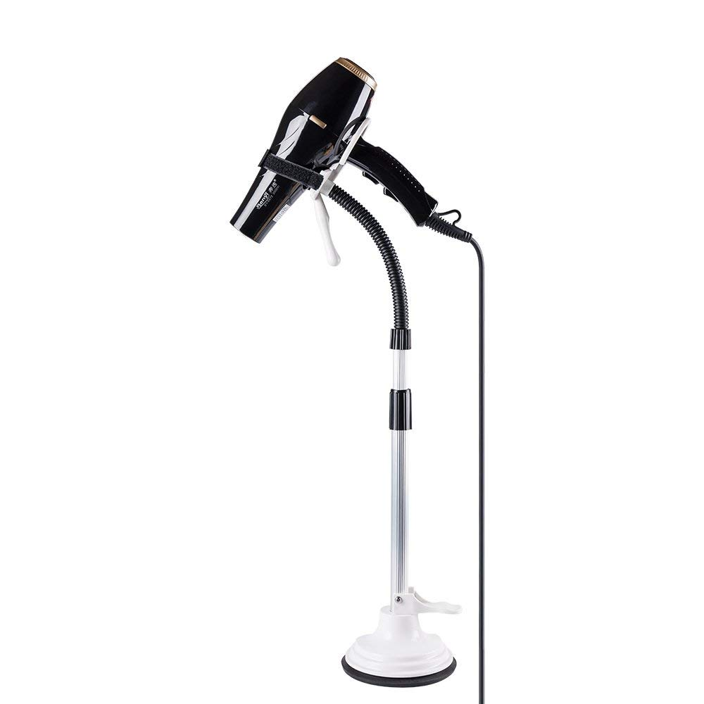 LuckIn Upgraded Hair Dryer Stand Hands Free, Blow Dryer Holder| Adjustable Height with Sucker| Hairdryer Holder for Drying and Styling, White