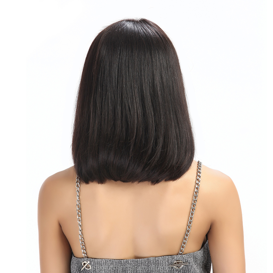 Sleek 10 - 12 Inch Natural Color Brazilian Remy Straight Hair Full Lace Human Hair Half Bob Wigs For Black Women фото