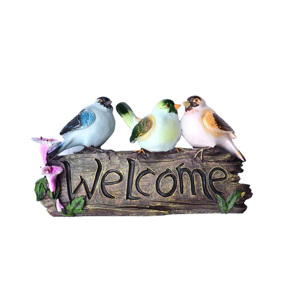 Colias Wing Outdoor Garden Yard Decor Blue&Green&Pink Birds Welcome Statue Hand Painted Home Decor Sign Rustic Front Door Decorations Welcome Sign