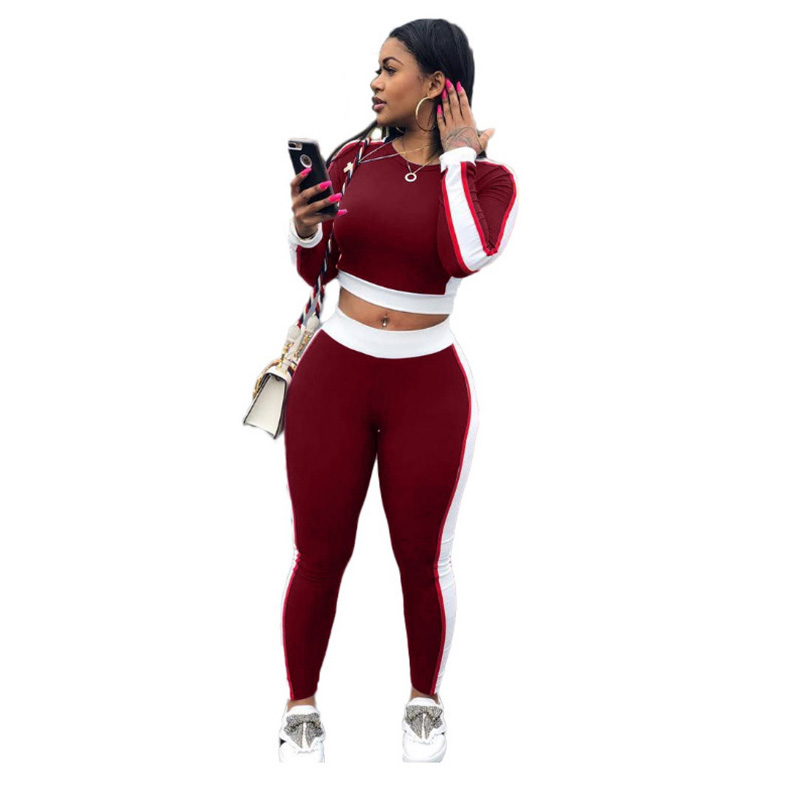 Woman Plus Size Sports Custom Women Sports Tracksuit Crop Tops And Pants Set