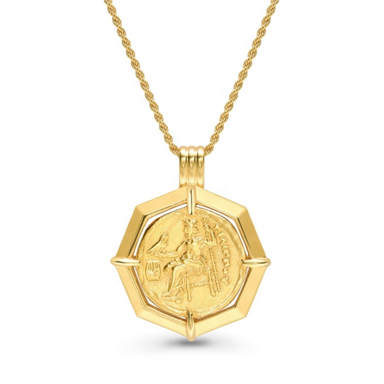 925 silver dainty coin Medallion signet medal gold chain necklace фото