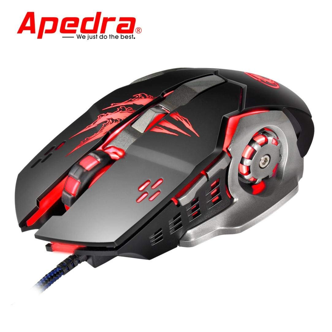 Cywulin 3200DPI LED Optical 6D USB Wired Gaming Game Mouse for PC,Laptop, Notebook, Desktop, Tablet (Black)