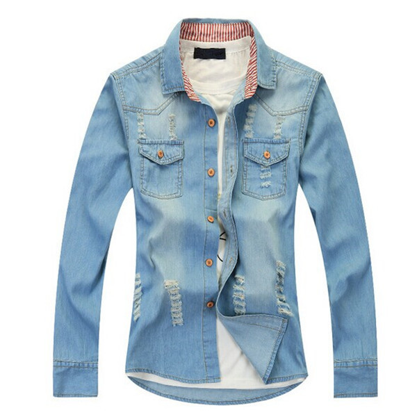 59f7dcfe383 Men denim shirts Summer New denim shirt double pocket stitching design men  slim shirt short sleeve jeans shirt Free shipping
