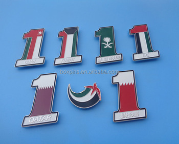 HOT Stamping Mid East countries national day gifts badge for UAE, Qatar, Kuwait, Saudi