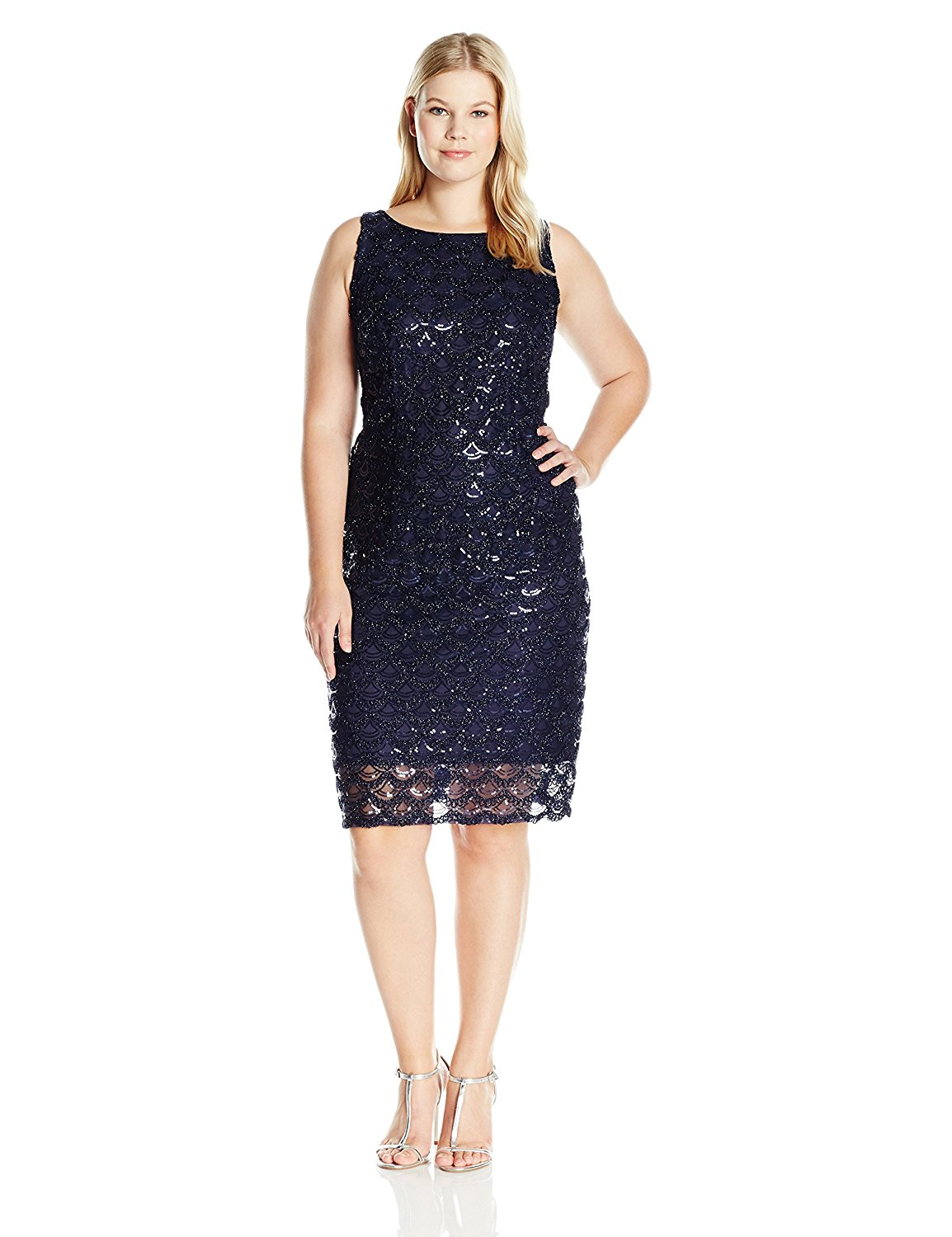 7a6f32a51b Sandra Darren Women s Plus Size SD Collection Sleeveless All Over Sequin Mesh  Dress