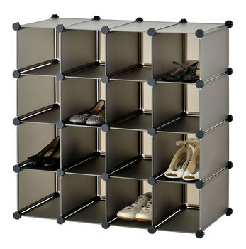 Brown Color Shoe Storage Boxes Cube Interlocking 16 Pairs Shoes (FH AL16400)