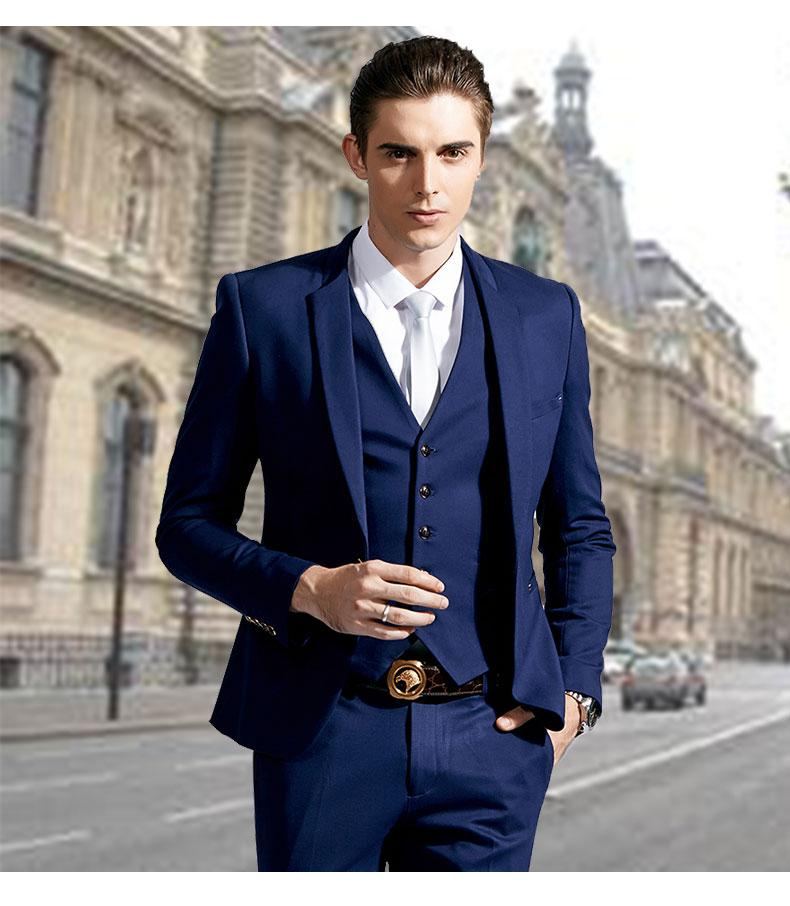Stylish Slim Fit Blue Groom Tuxedos Stand Colar One Button