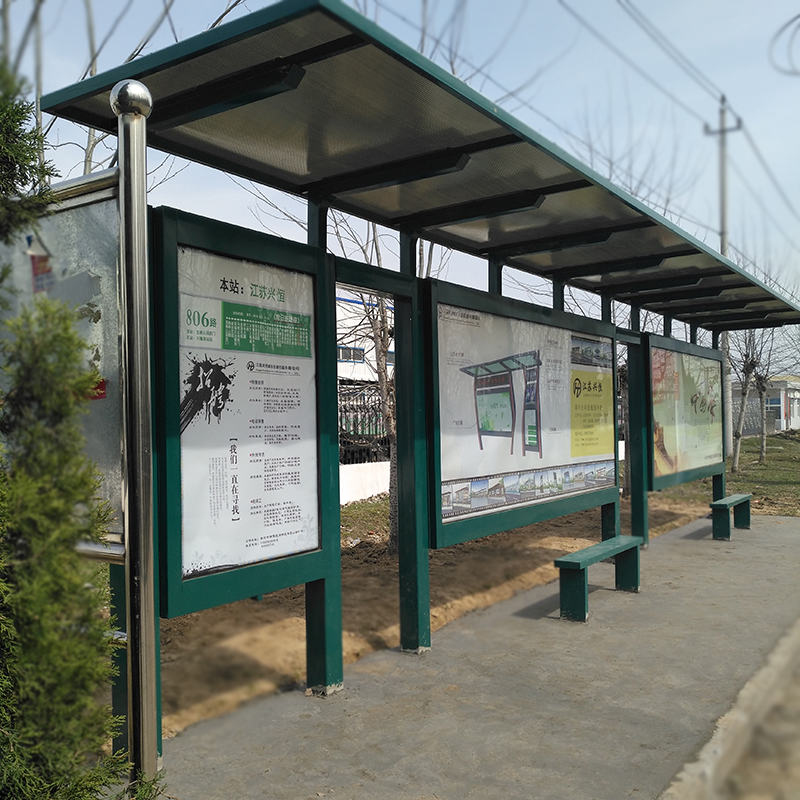 10 mm flat polycarbonate ceiling bus stop station and transit shelter