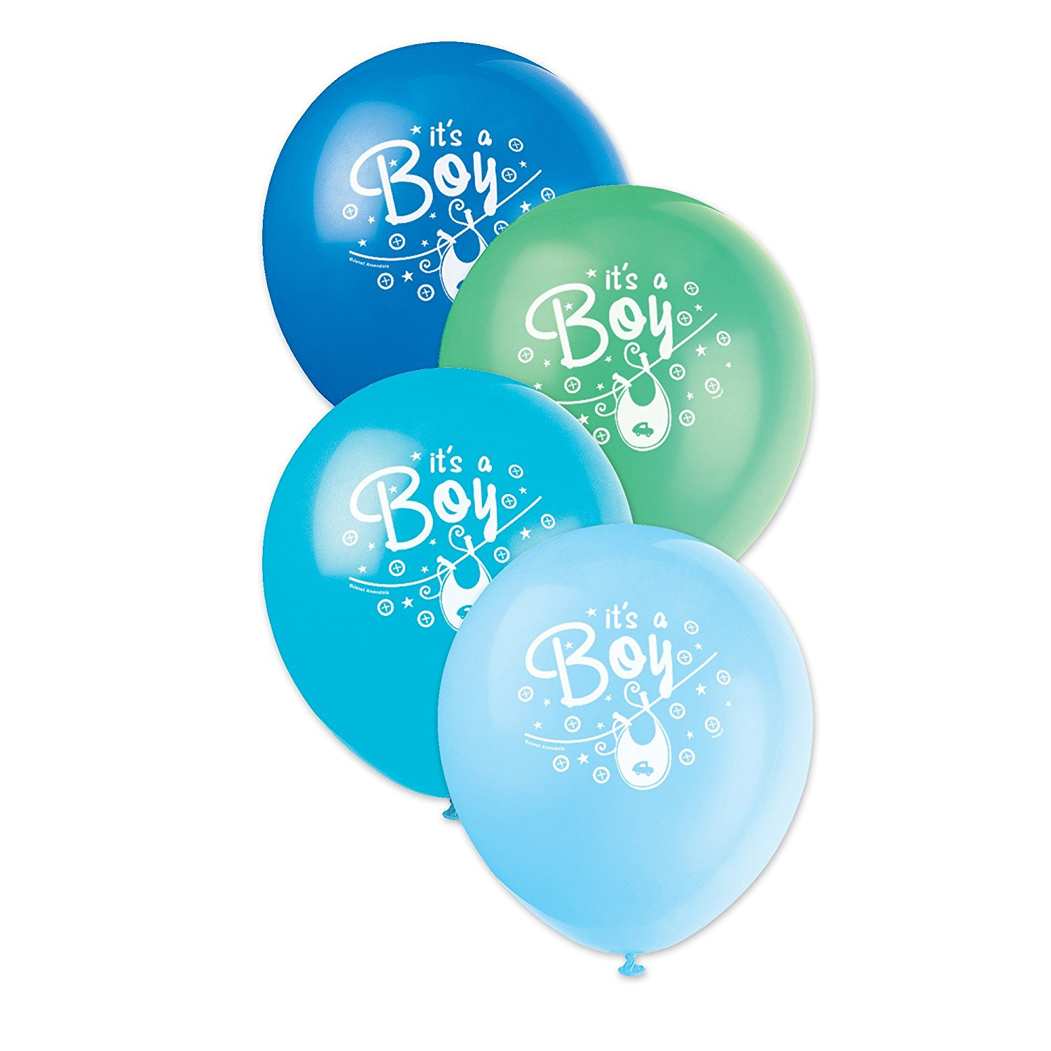 "12"" Latex Blue Clothesline Boy Baby Shower Balloons, 8ct"