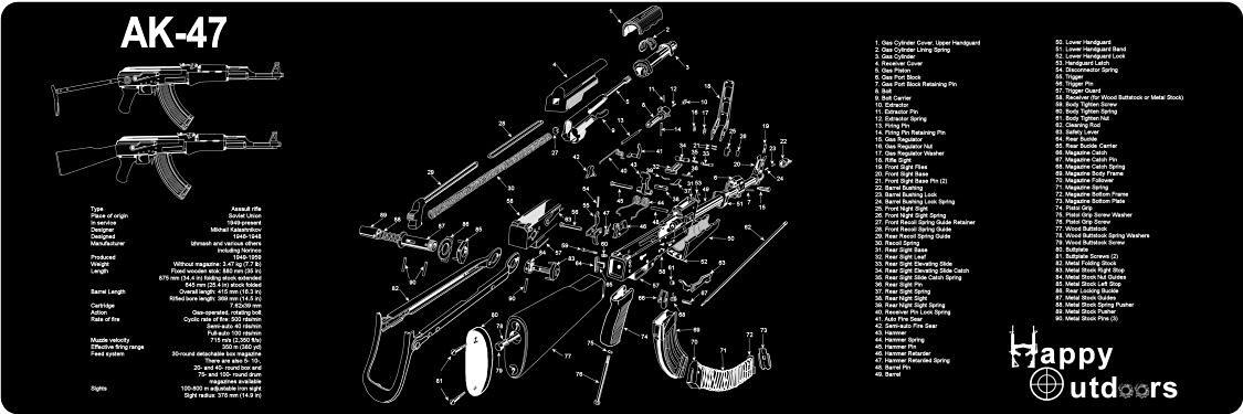 Buy AK-47 Armorers Gun Cleaning Bench Mat with AK47 Schematic Full on dc schematic, ar schematic, akm schematic,