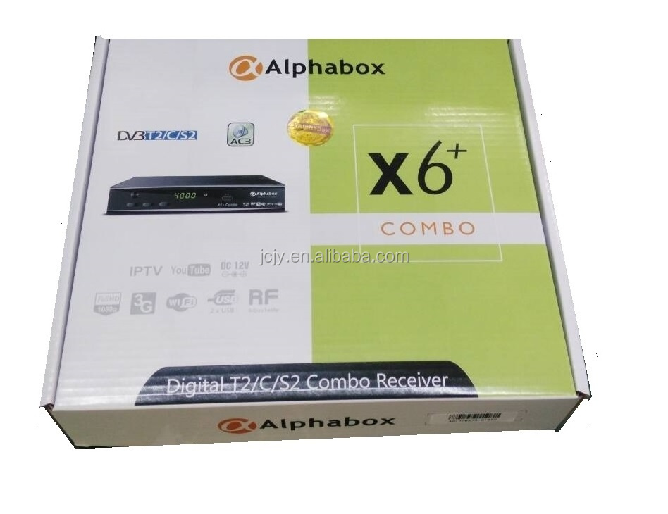 Stocks for 2017 newest Alphabox X6 Plus Combo powervu autoroll DVB-T2/C/S2 Combo receiver with cccam,