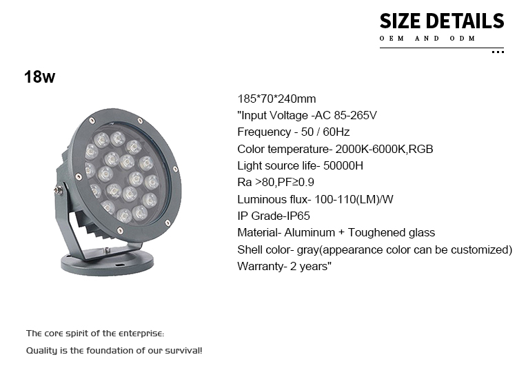 IP65 Waterproof White Round high power floodlight  china outdoor rail flood led spot light
