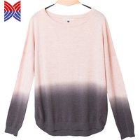 Latest Design Tie Dye Pink Long Sleeves Knit Womens Sweater