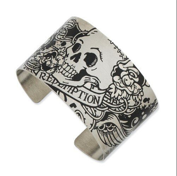 Yiwu Aceon Stainless steel Wide Design Custom Engraved Tattooed metal cuff bracelet
