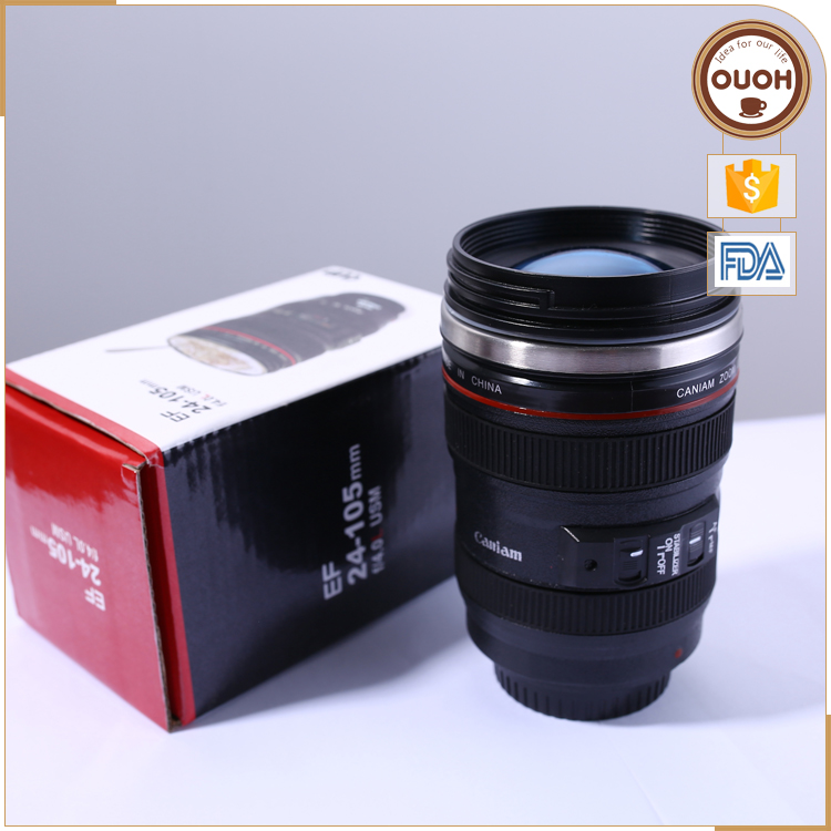 Bulk Wholesale Double Wall Stainless Steel Non-spill 24-105 Camera Lens Coffee Thermos Travel Mug