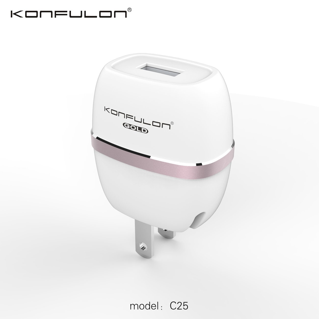 Konfulon C25 5W/1.0A USB Wall Charger (with Foldable Plug) for iPhone 7/7 Plus/6/6 Plus/6S/6S plus/SE, iPad Air 2 / Pro / mini 3, Galaxy S7 / S7 Edge / S6 / S6 Edge / Edge+, Note 5, LG G5 and More