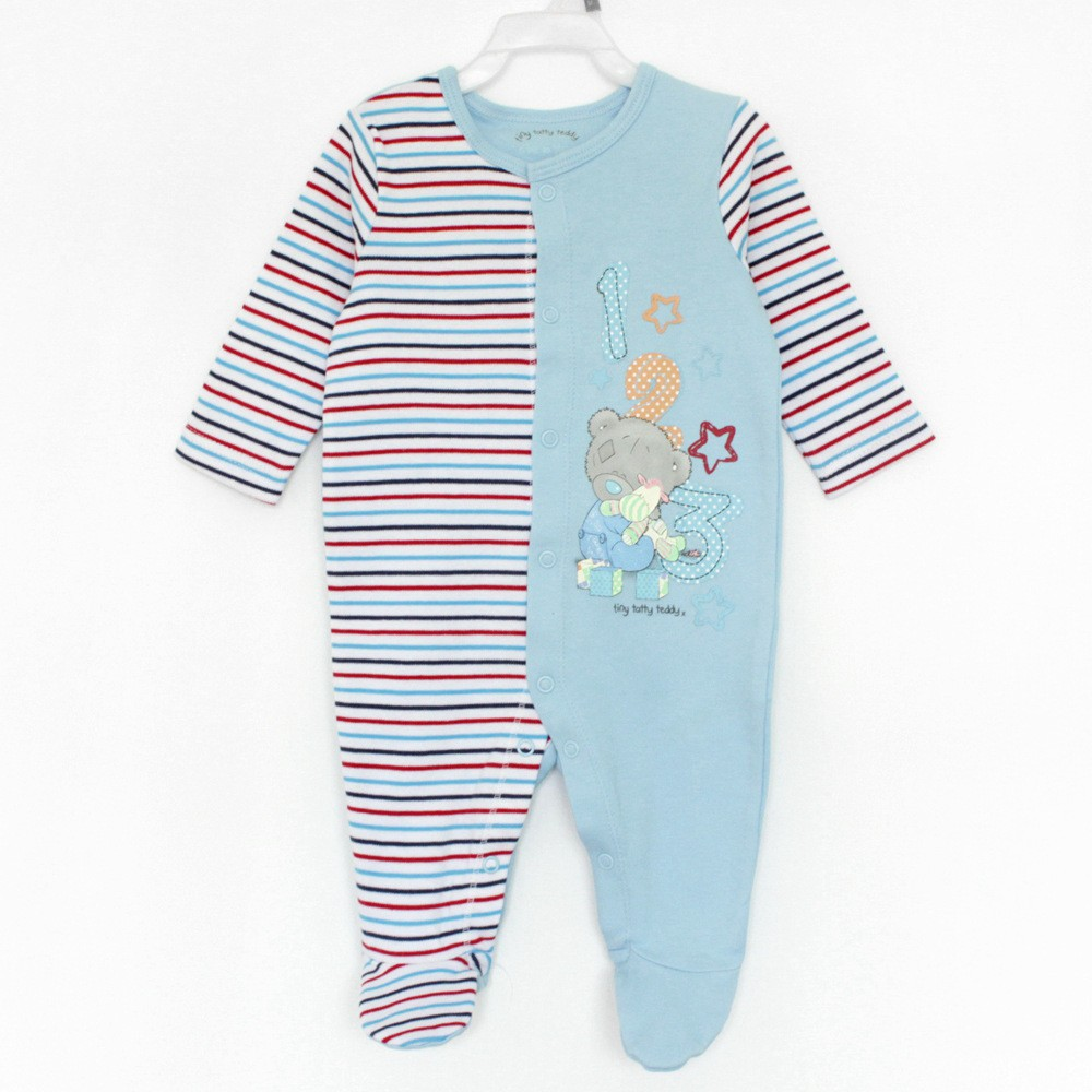 R&H plaid long sleeve wrap feet embroidery newborn baby bodysuit