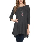 Women's 3/4 Sleeve Loose Tunic Tops Women Casual Long T-Shirt