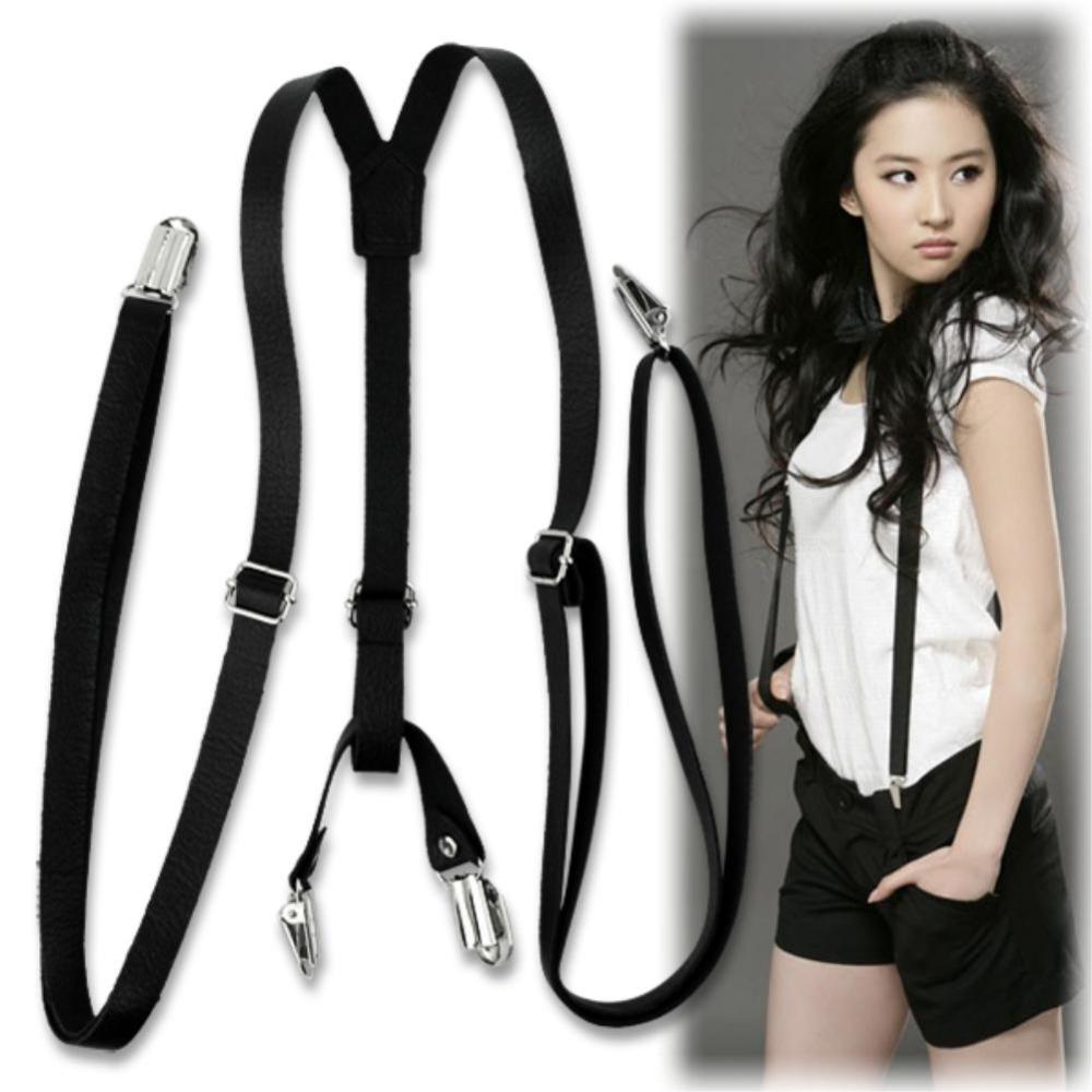 d75749f85 EQ0743 Adjustable Unisex Clip-On Leather Pants Y-shaped Braces Suspenders 5  Colors