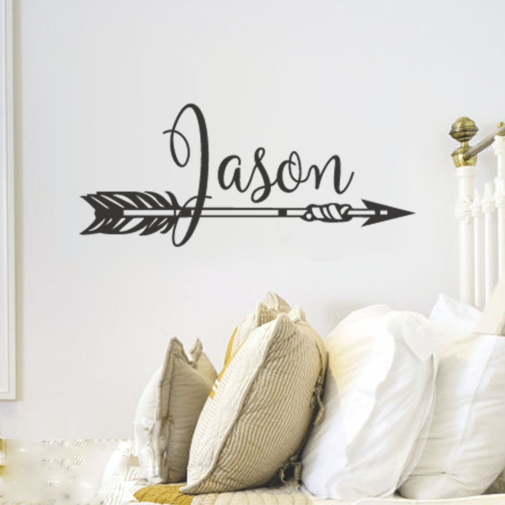 """BATTOO Arrow Name Wall Decal- Personalized Name Decal- Nursery Custom Name Wall Decal- Arrow Wall Decal- Kids Wall Decal- Boho Arrow Nursery Decor(B-black, 50""""WX21""""H)"""