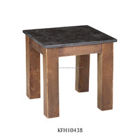 Marble top side table with reclaimed pine base, antique telephone table, tiny corner table