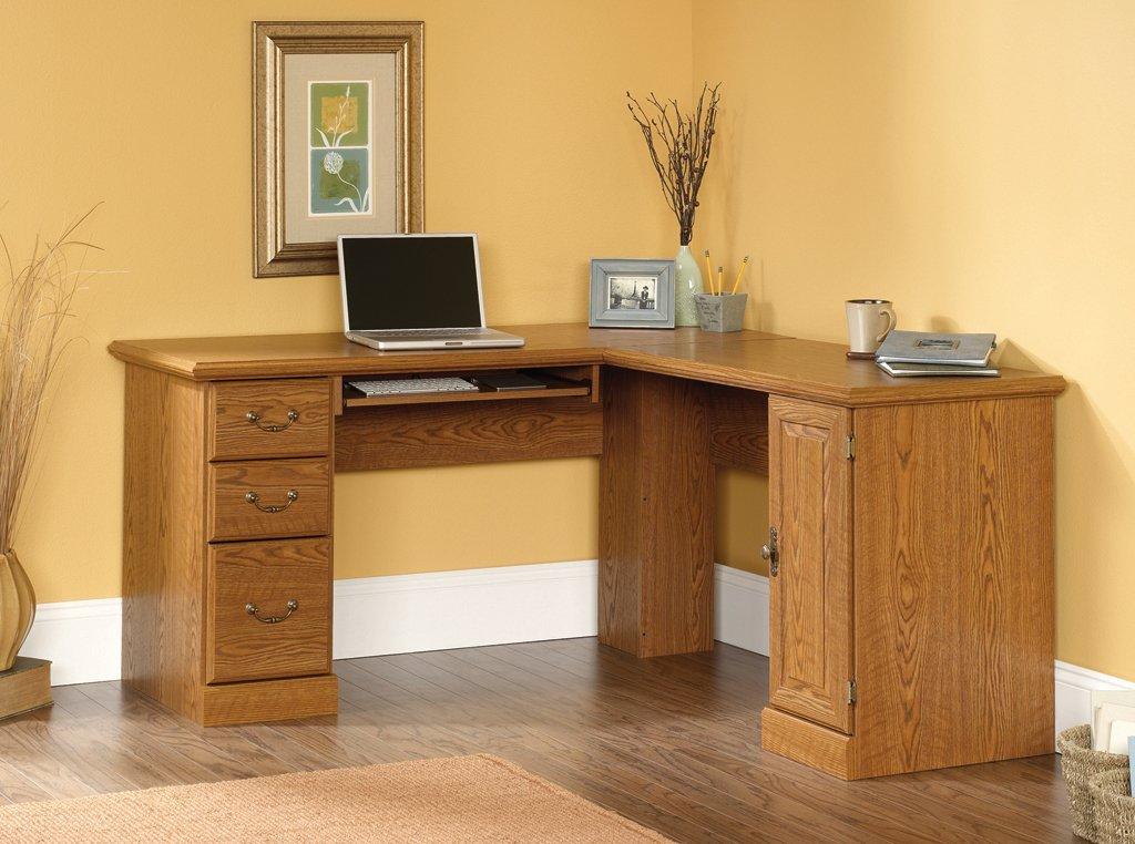 Sauder Orchard Hills Corner Computer Desk 401929, Carolina Oak Finish