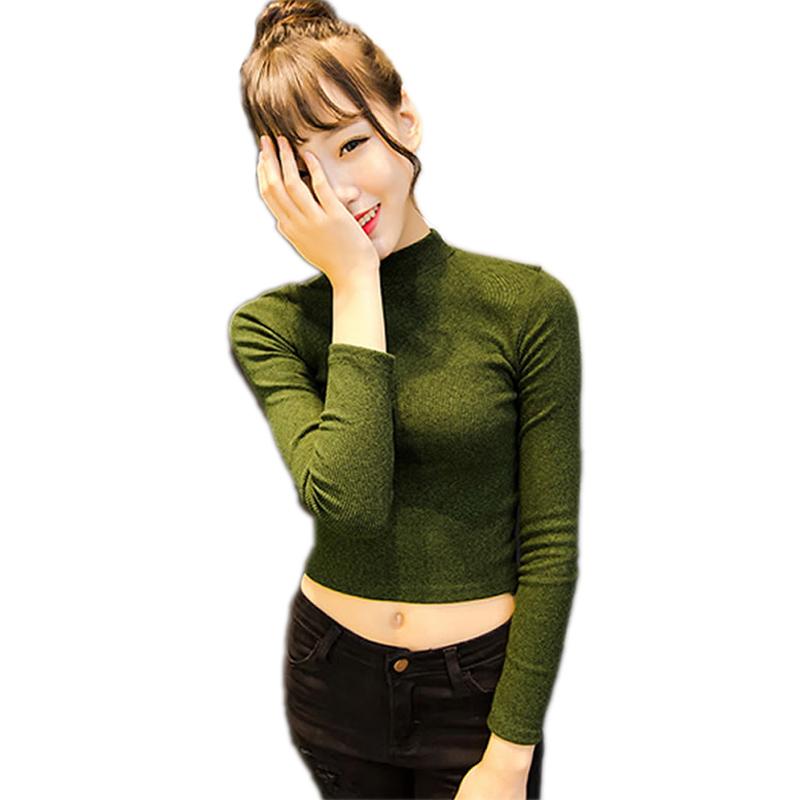 d7b6756a1 Get Quotations · 2015 Winter Autumn Long Sleeve Pullovers Women Crop Tops  Knitted Sweater Turtleneck Pullovers Sweater Women Tops