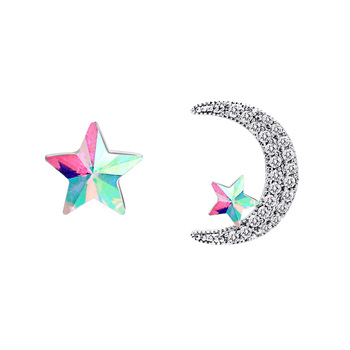 Super fashion moon and laser star small diamond stud earrings jewellery online
