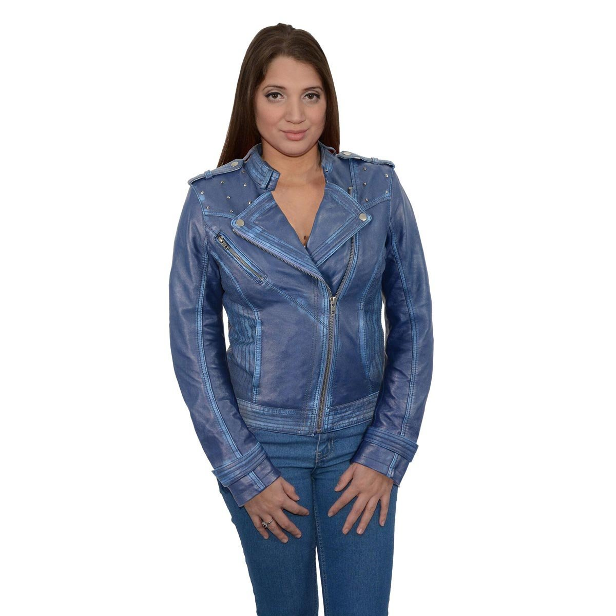 Milwaukee Leather Womens Asymmetrical Studded Royal Blue Sheepskin Jacket - 2X-Large