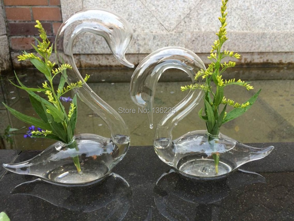 1 Pair Hand Made Glass Swan Sculpture With Head Down Home
