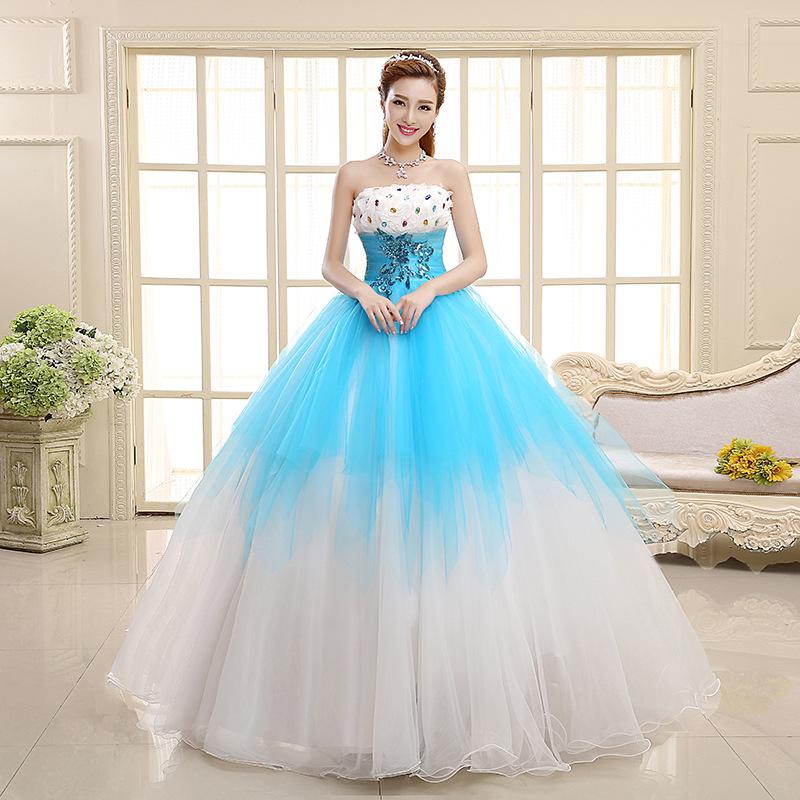 Venta al por mayor vestidos de novia de color azul-Compre online los ...
