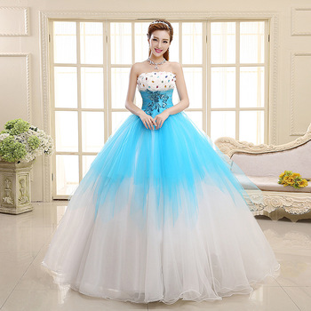 Fashion Light Blue Puffy Strapless Blackless Floor Length Wedding