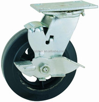 44 Series Double Ball Raceway Structure Top Plate Swivel Rubber Caster with Side Brake