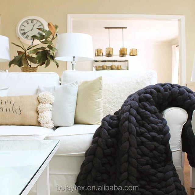 Suave manta Crochet hilo grueso manta caliente 100% hilado de ...
